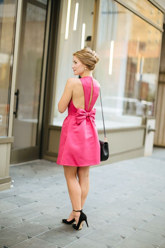 Bow back dress pink