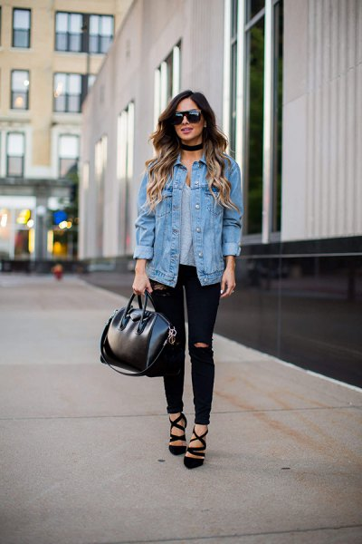 Boyfriend denim jacket with black skinny jeans