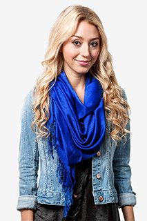 Boyfriend denim jacket with sheath dress and royal blue pashmina scarf