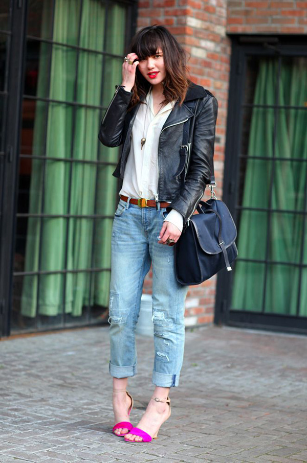 Boyfriend Jeans Black Leather Jacket Outfit Idea