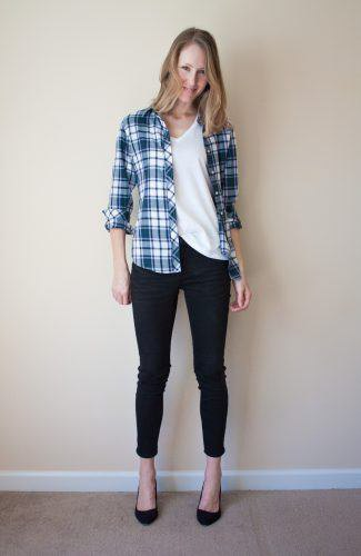 Boyfriend's plaid shirt with white scoop neck t-shirt and ballet flats