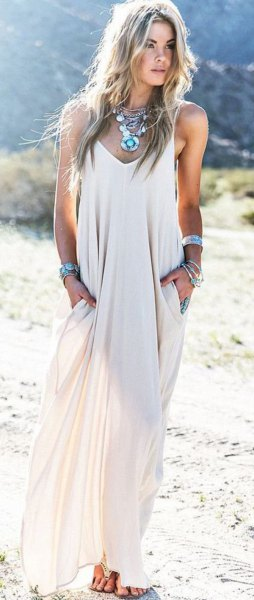 airy maxi dress boho style statement necklace