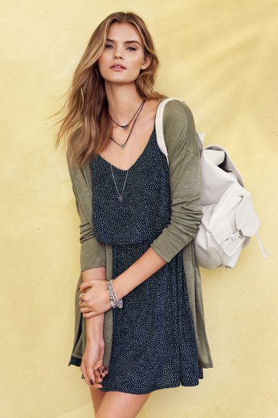 airy tie waist shirt gray cardigan outfit