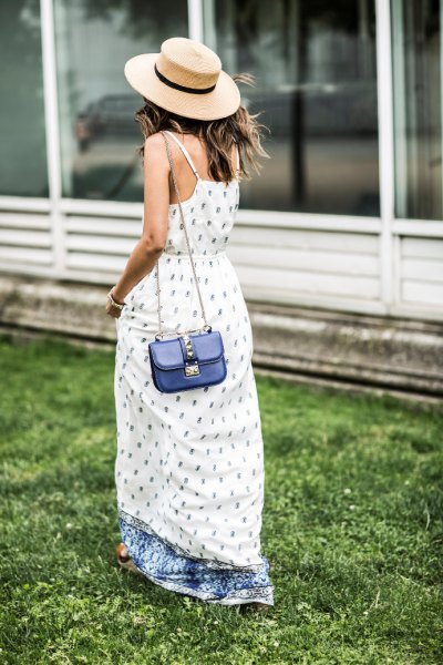 airy maxi dress with white and blue print