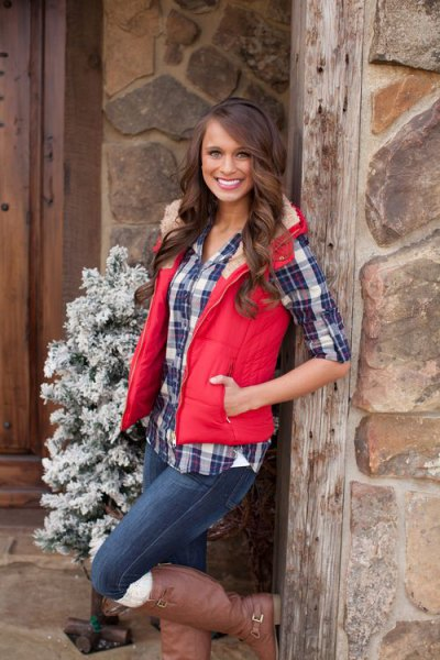 bright red hooded vest with faux fur collar and dark blue checked boyfriend shirt