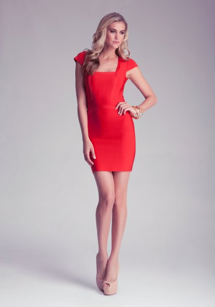 bright red bodycon dress with cap sleeves and a square neckline