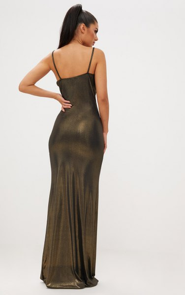 Floor-length tube dress made of bronze with a spaghetti strap
