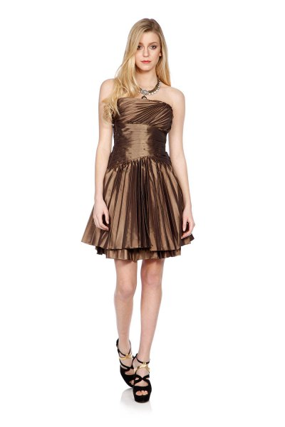 Bronze strapless fit and flare pleated mini dress