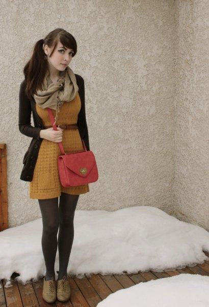 Knit mini dress with a brown belt and a flared mini dress with a black knitted sweater