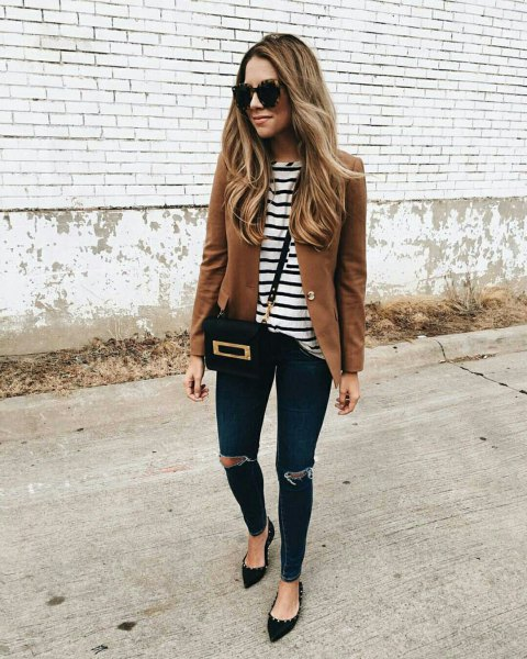 brown blazer with black and white striped t-shirt and pointed flats