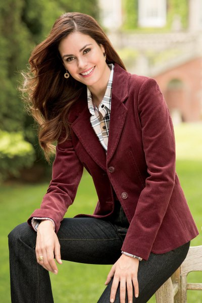 brown blazer with pink and white checked shirt with buttons