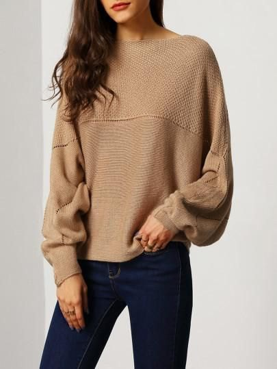 brown sweater with boat neckline