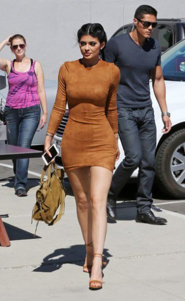 brown, figure-hugging mini suede dress with open camel heels