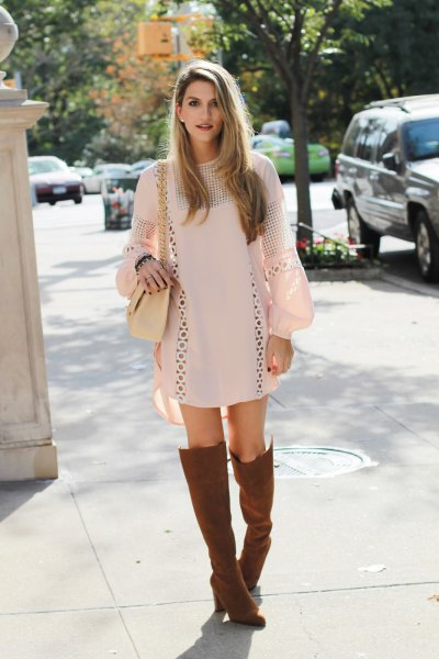 brown boots white crocheted shift dress