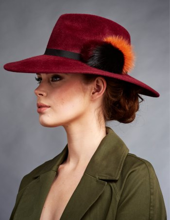 brown bush hat with matching blazer and mini skirt
