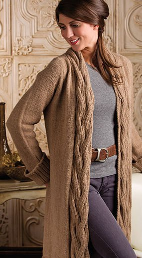 brown cable knit maxi cardigan with gray sweater and leather belt