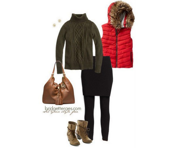 brown knitted sweater with knitted neck and black skirt gaiters