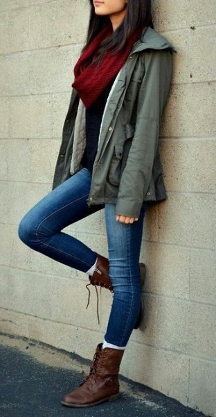 brown combat boots army jacket skinny jeans