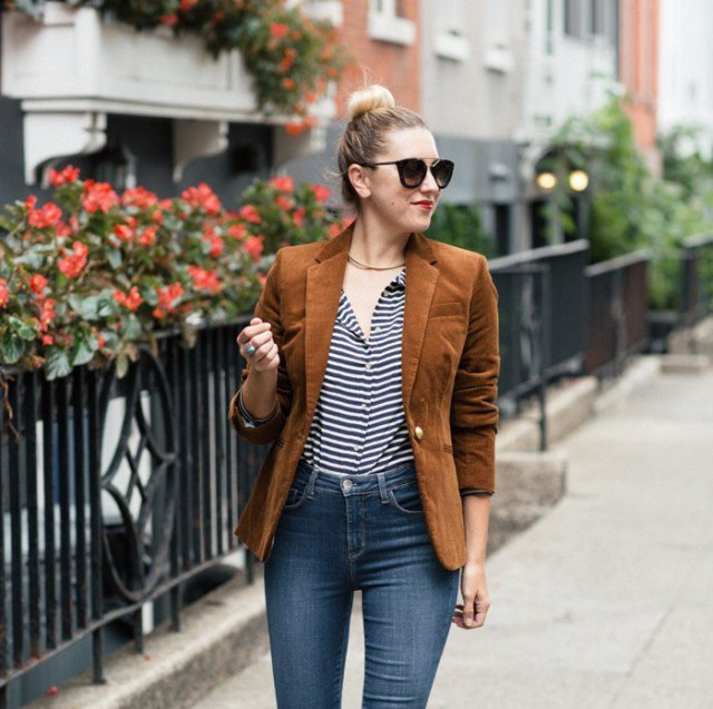 black and white striped shirt with brown corduroy blazer