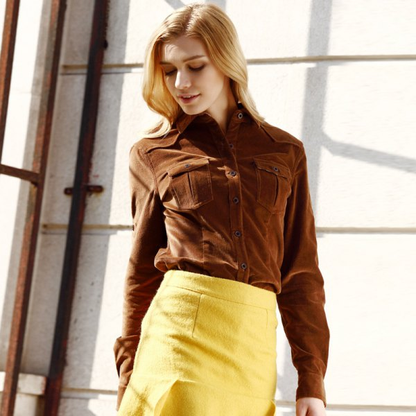 brown corduroy shirt, yellow wool body, figure-hugging mini skirt