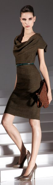 brown midi dress with waterfall neckline and clutch