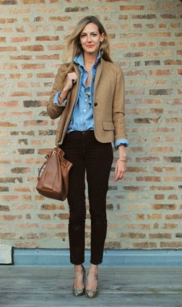 brown autumn blazer jacket with light blue chambray shirt