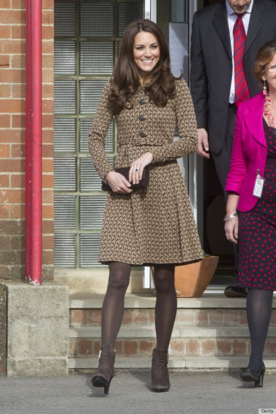 long-sleeved coat dress with a brown fit and flare with tights and heels