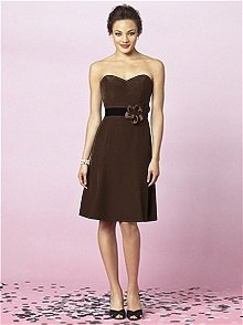 brown fit and flared strapless knee-length bridesmaid dress