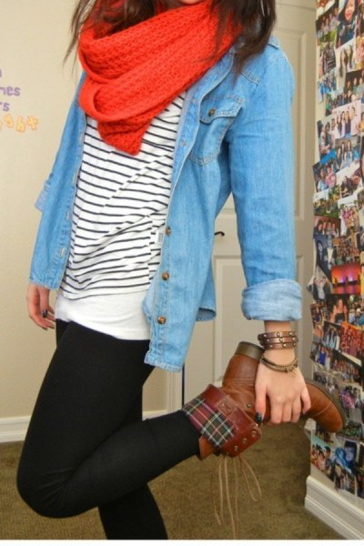 brown crease over boots chambray shirt striped t-shirt