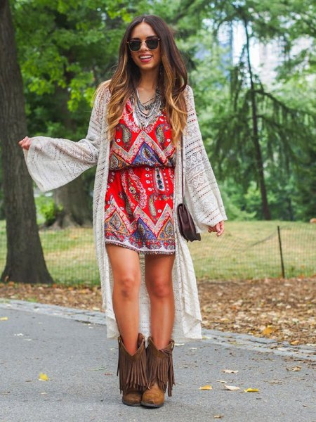 brown boots with fringed boho dress long cardigan
