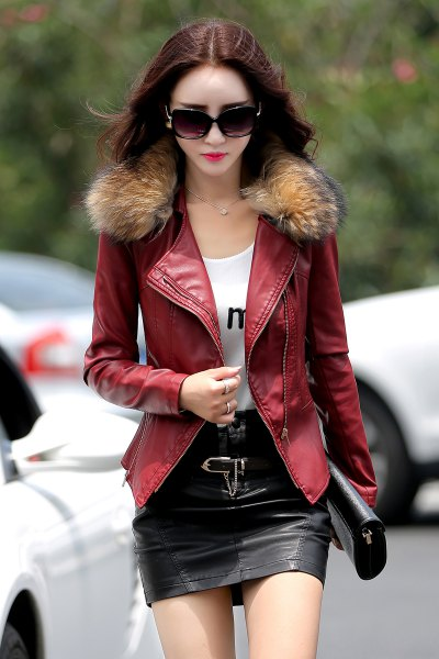 brown fur collar leather jacket black skirt