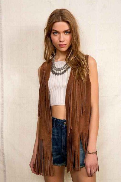 brown hippie vest with white, ribbed, short cut, figure-hugging sweater