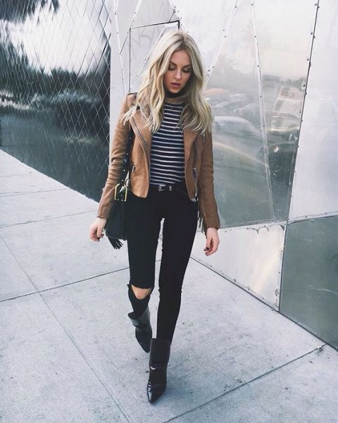 brown jacket with striped long-sleeved T-shirt and black jeans