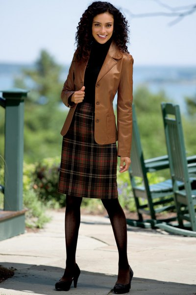 brown leather blazer with red and black plaid flannel skirt