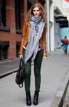 brown leather jacket with gray turtleneck and matching scarf