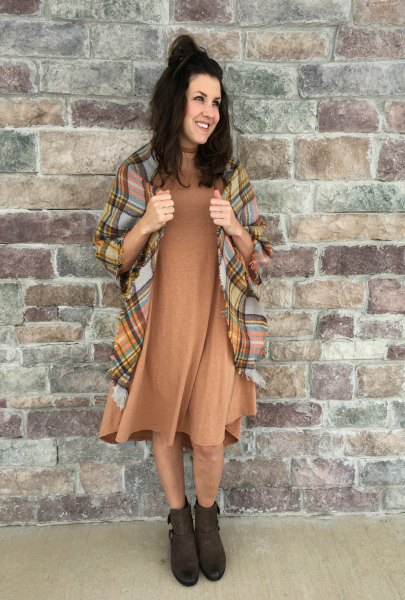 brown midi swing dress with checked blanket scarf