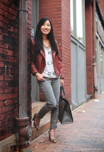 brown petite leather jacket with white blouse with V-neck