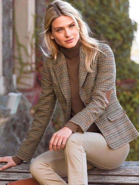 brown checked tweed blazer with turtleneck sweater