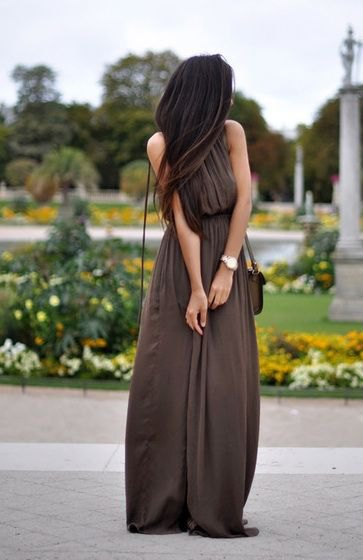 brown, pleated maxi air dress with a gathered waist