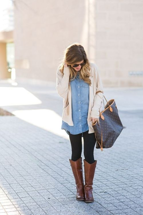 Cute and chic fall outfit ideas | Chambray shirt outfits, Fall .
