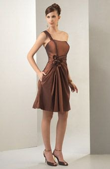 brown single strap tube fit and flare knee length dress