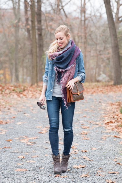 brown leather ankle boots outfit with rivets