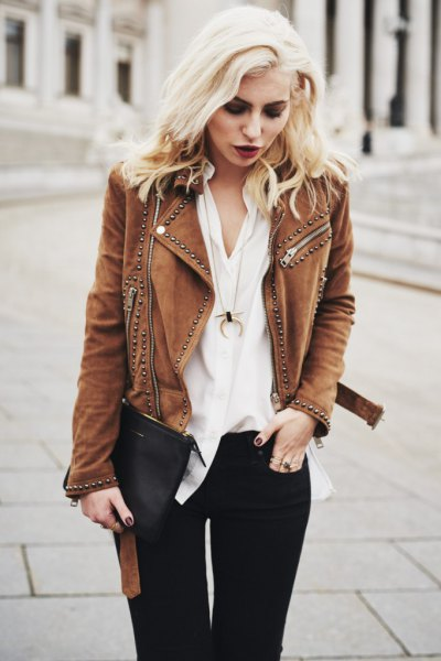 brown suede jacket with rivets, white blouse, black jeans