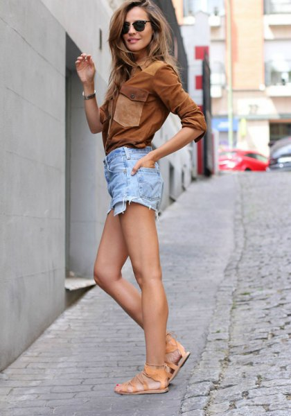 brown suede shirt with light blue denim shorts