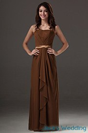brown curb belt maxi flared bridesmaid dress