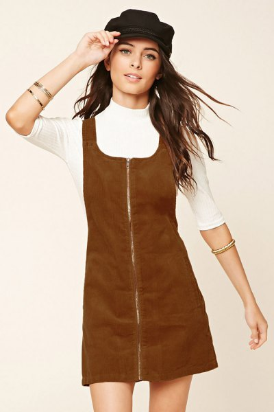 brown cord dress with zipper in the front