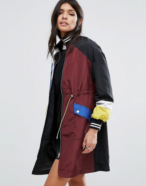 Burgundy-red and black longline sports coat with mini shift dress