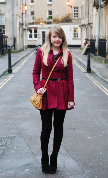 Burgundy long coat with belt, leggings and ankle boots