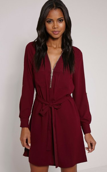 Burgundy long-sleeved shift dress with belt