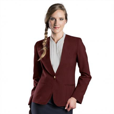 Burgundy blazer with a blushing pink collarless blouse and black pencil skirt